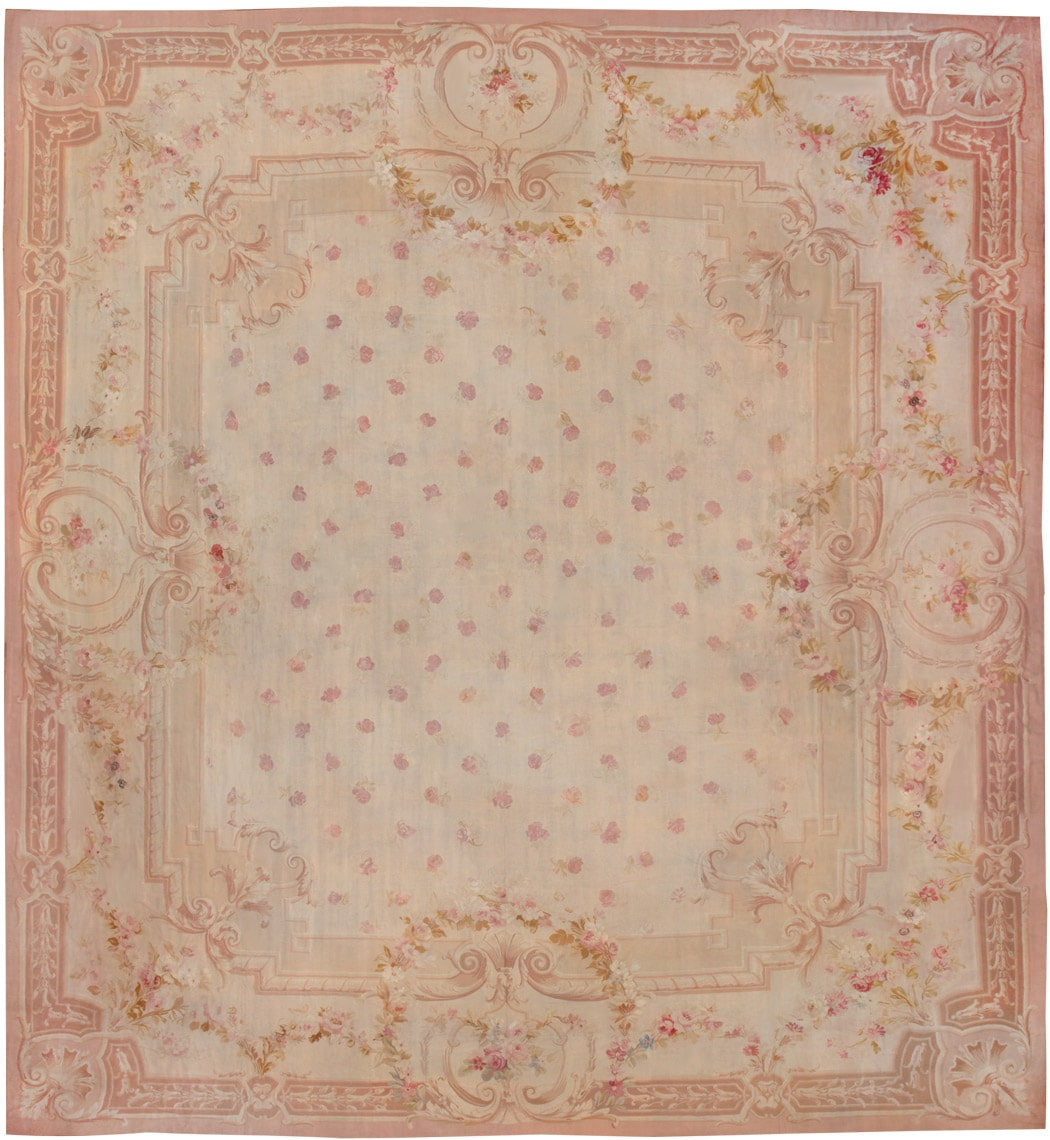 Antique French Aubusson Carpet 8515 By Nazmiyal NYC