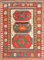 Antique Tribal Caucasian Kazak Rug 47371 Color Detail - By Nazmiyal