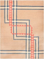 Antique Indian Art Deco Rug 48030 Color Detail - By Nazmiyal