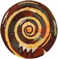 Vintage Round Swedish Rya Rug 48193 Color Detail - By Nazmiyal